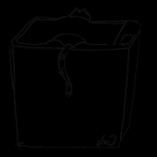 Illustration: Katze auf Kopierer