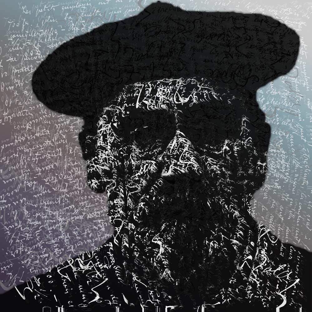 Grafik - Porträt von Emile Zola mit Schrift