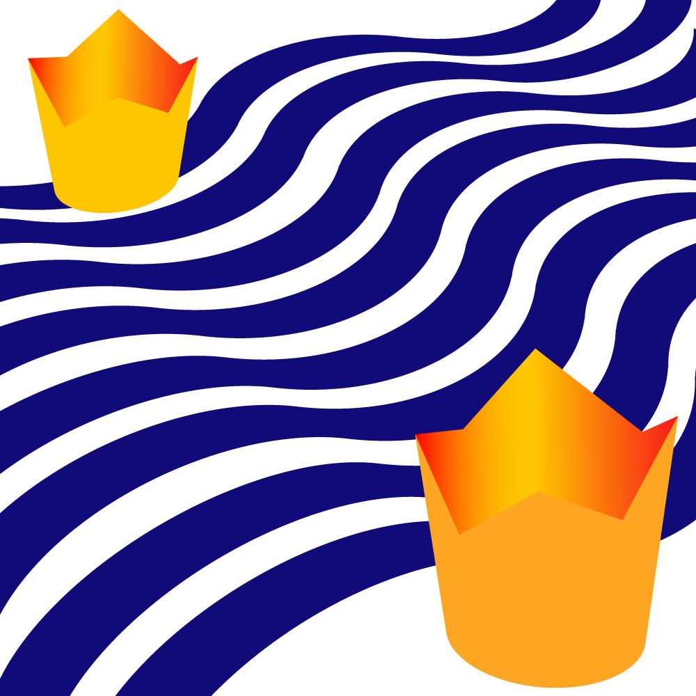 Königskinder durch blaue Wellen getrennt