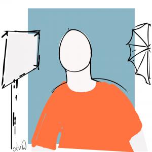 Beim Fototermin: Figur zwischen Softbox und Schirm