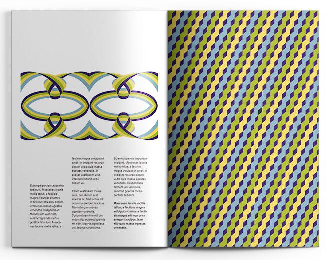 Magazin innen mit grafischer Gestaltung