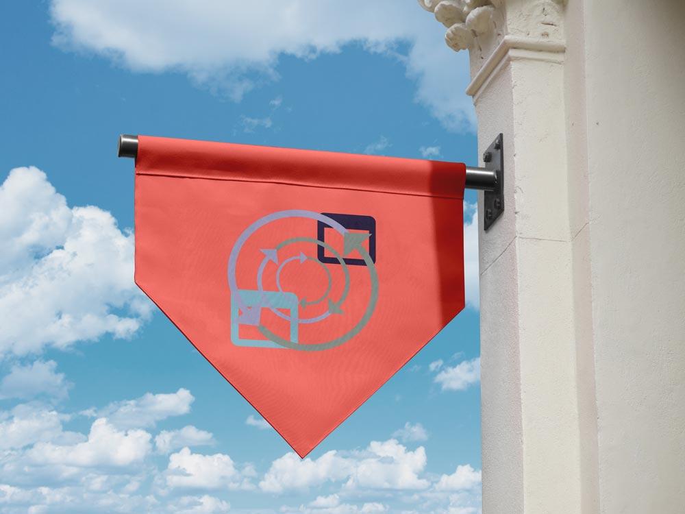 Fahne mit Symbol für Social Media