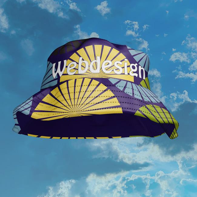 Symbolbild für umfassenden Webdesign-Service - bunter Hut vor Wolken